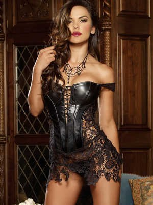 Faux Leather n Lace Corset 1