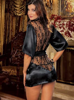Plush Satin & Lace Robe 1